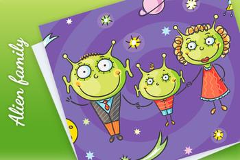 Cartoon alien family with a little son