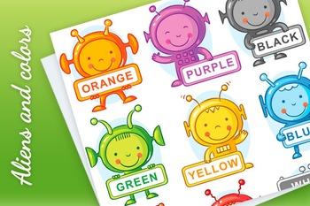 Cartoon aliens representing colors