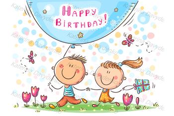 Cartoon birthday greeting card