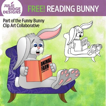 Cartoon bunny reading Animal Farm novel clip art