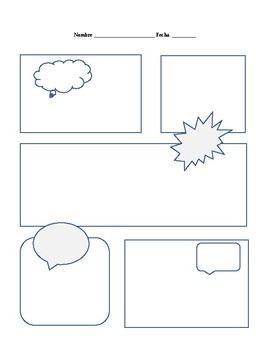 Cartoon comic strip template