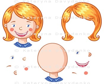 Cartoon face parts for kids to put together