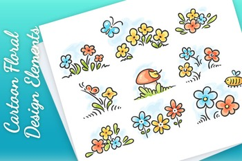 Cartoon floral design elements