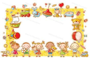Cartoon frames bundle, including school, animals, kids, baby, birthday, summer