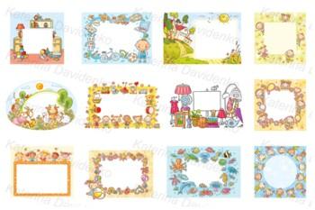 Cartoon Frames Bundle Including School Animals Kids Baby Birthday Summer
