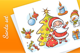 Cartoon set with Santa, snowman, candle, present, Christmas tree and ornaments