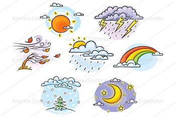 Cartoon weather set