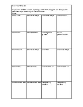 Cartooning worksheet