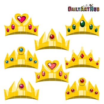 Cartoony Crowns Clip Art - Great for Art Class Projects!