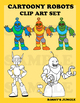 Cartoony Robots Clip Art set