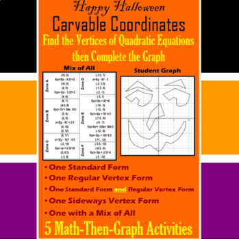 Carvable Coordinates - Finding Vertices - 5 Math-Then-Graph Activities