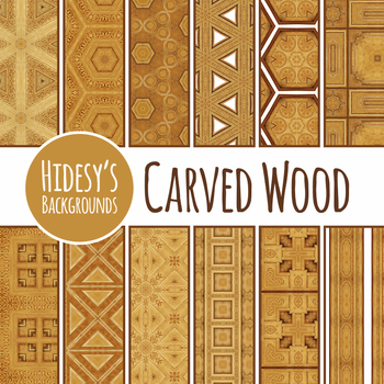 Carved Wood Digital Papers / Backgrounds Clip Art Set Commercial Use