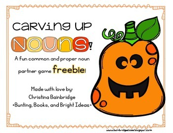 Carving Up Nouns - Common and Proper Noun Halloween Freebie!