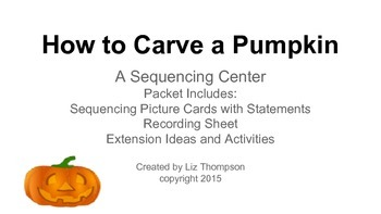 Carving a Pumpkin Sequencing Activity