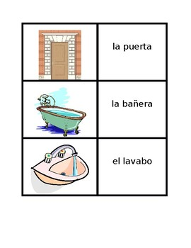 Casa (Full House in Spanish) Vocabulary Concentration games