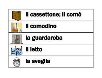 Casa (House in Italian) Word wall