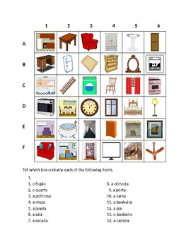 Casa (House in Portuguese) Find it Worksheet