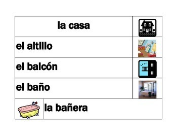 Casa (House in Spanish) Word wall
