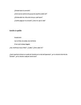 Answers for Casa en Mango Street paginas 59-82