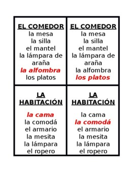 Casa y Muebles (House and Furniture in Spanish) Juego de siete Familias