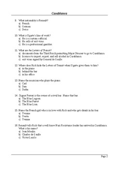 Casablanca - 50 Question Multiple Choice Quiz / Final Assessment