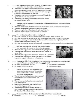 Casablanca Film (1942) 40-Question Matching and Multiple Choice Quiz