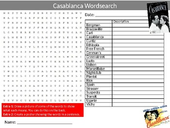 Casablanca Movie Wordsearch Puzzle Sheet Keywords Film and Media Studies
