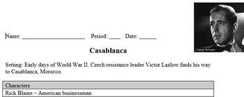 Casablanca- Movie worksheet