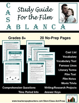Casablanca: Study Guide for the Film (17 Pages, Answer Keys Included, $15)