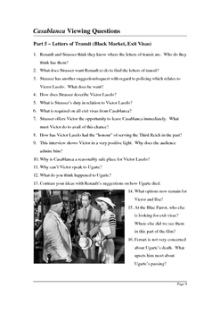 Casablanca - Detailed Viewing Questions (with answer key)