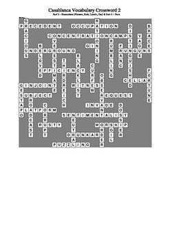 Casablanca - Vocabulary Crossword 2