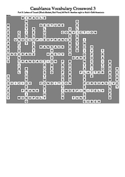 Casablanca - Vocabulary Crossword 3