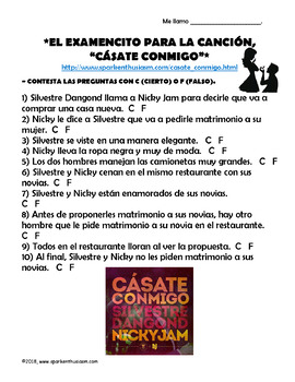 Casate Conmigo - Spanish Song Lyrics & Activities - Nicky Jam
