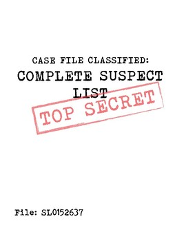 Case File Classified Suspect List