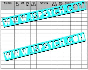 Case Management Chart for School Psychologists and Special Educators