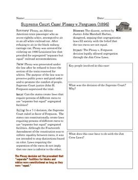 supreme court case study plessy v ferguson by curriculum candy. Black Bedroom Furniture Sets. Home Design Ideas