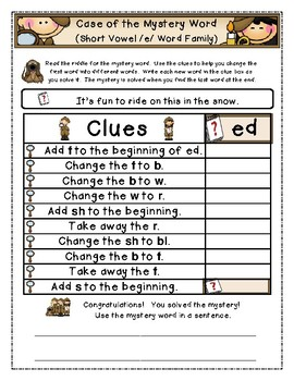 Case of the Mystery Word (Short Vowel Word Family Edition)