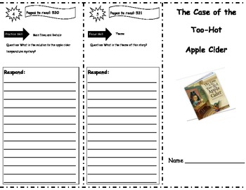 Case of the Too-Hot Apple Cider Storytown Comprehension Trifold