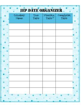 IEP Date Organizer by Resource Ramblings | Teachers Pay Teachers