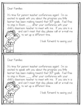 Caseload Parent Teacher Conferences Note