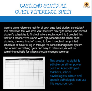 Caseload Schedule List, Schedule Reference Tool