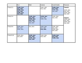 Caseload Schedule Template