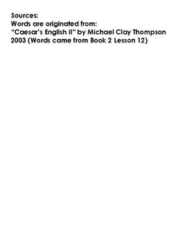 Casesar's English Book II Lesson 13 Homework