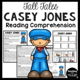 Casey Jones Tall Tale Reading Comprehension Worksheet
