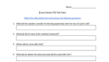 Casey Neistat TED Talk Comprehension Questions - Famous Youtuber