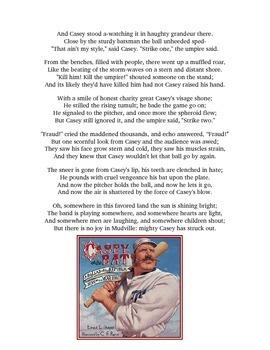 Casey at the Bat Close Read Inferring Handout, Quiz & Narrative Poem