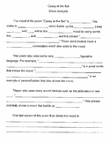 Casey at the Bat Mood Analysis Worksheet for Grades 6-8