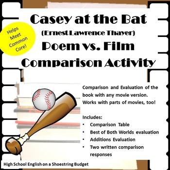 Casey at the Bat Poem vs Film [Movie vs. Book Activity] (E. Thayer)