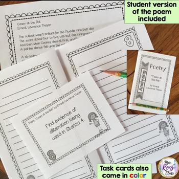Casey at the Bat by Ernest Lawrence Thayer  Poetry Analysis Poem Task Cards