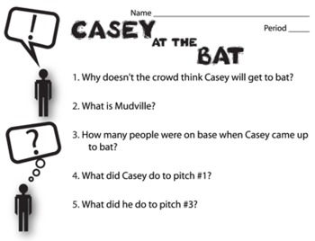 Casey at the Bat Pop Quiz & Discussion Questions (by Ernest Thayer)
